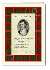 robert burns extract from here's to thy health card