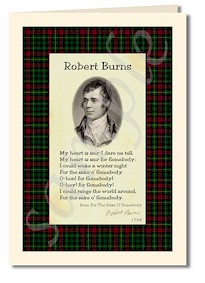 robert burns extract from For The Sake O Somebody cards