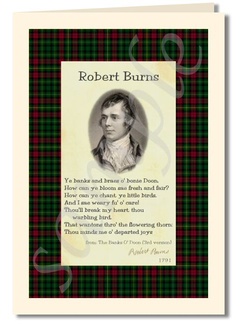 Robert Burns - extract from banks o doon third version greeting card