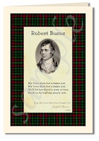 robert burns extract from My love she's but a lassie yet cards